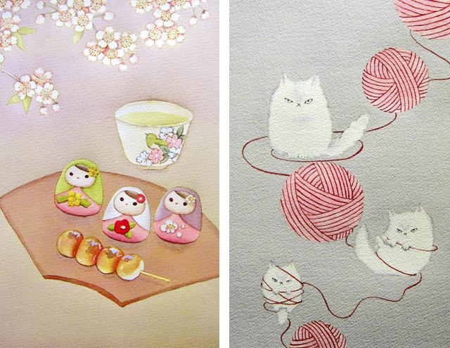 春の和菓子/ミーコちゃん